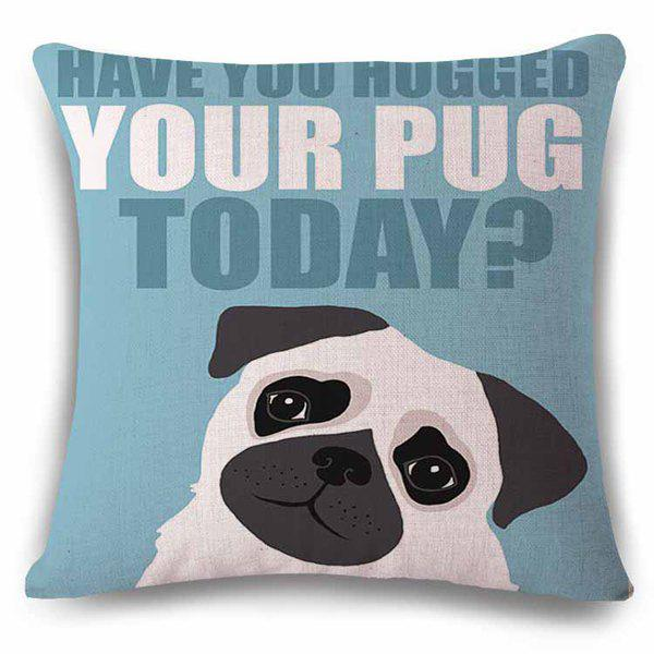 Lifelike English Proverb Thinking Puppy Squre Pattern Flax Pillow Case - BLUE/BLACK