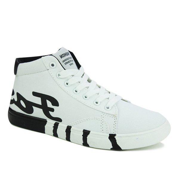 Trendy Tie Up and Color Splicing Design Men's Canvas Shoes