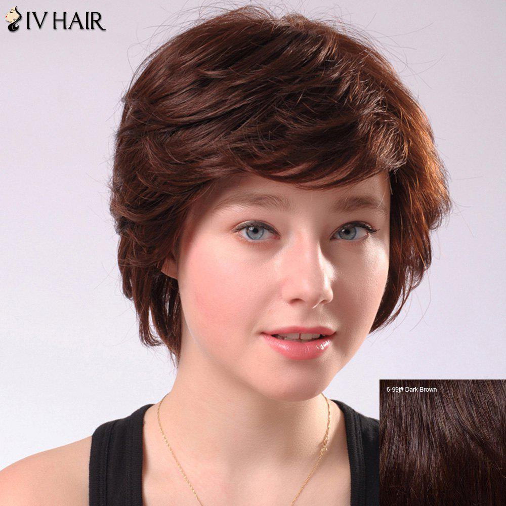 Siv Human Hair Short Fluffy Side Bang Wig - DARK BROWN
