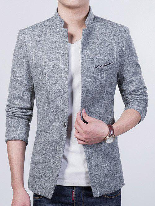 Breast Pocket Mandarin Collar Men's Coat