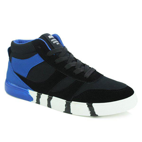 Stylish Tie Up and Splicing Design Men's Casual Shoes - BLUE/BLACK 42