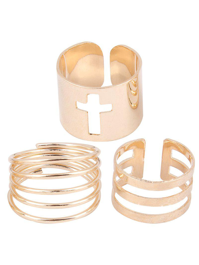 Stylish Cross Spring Opening Rings - GOLDEN