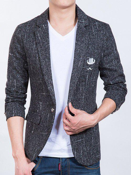 Sleeve Button Design Hat Beard Pattern Men's Blazer - BLACK 2XL