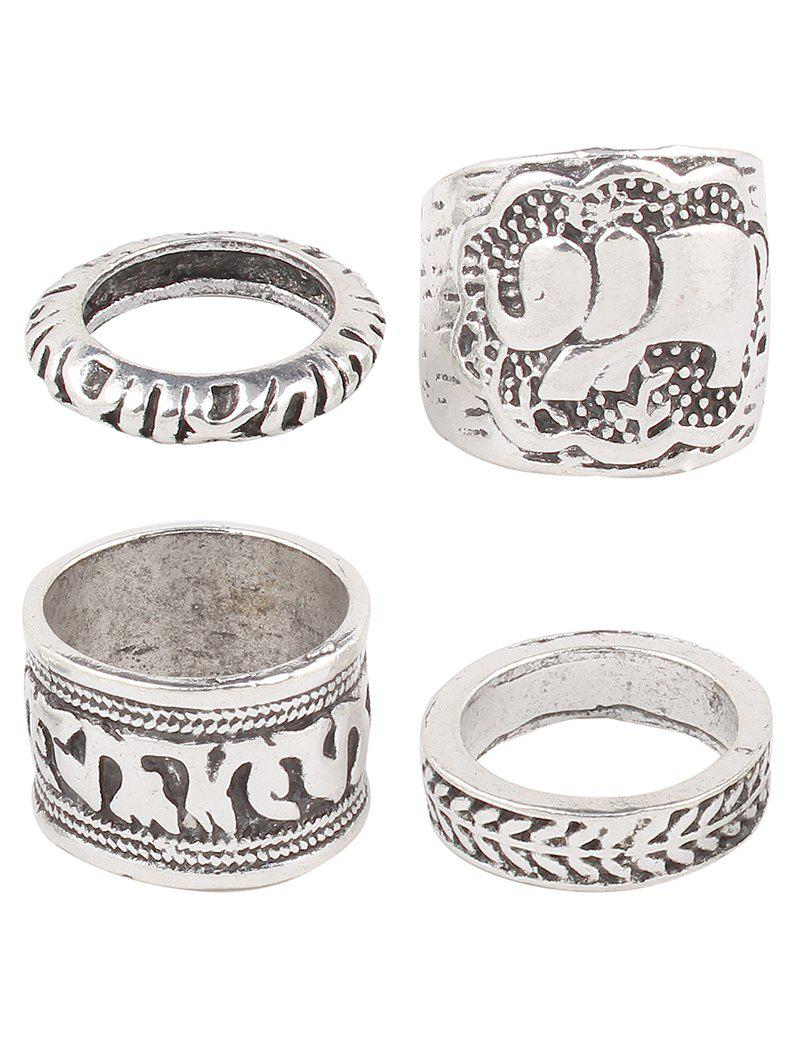 Stylish Engraved Elephant Etched Rings - SILVER