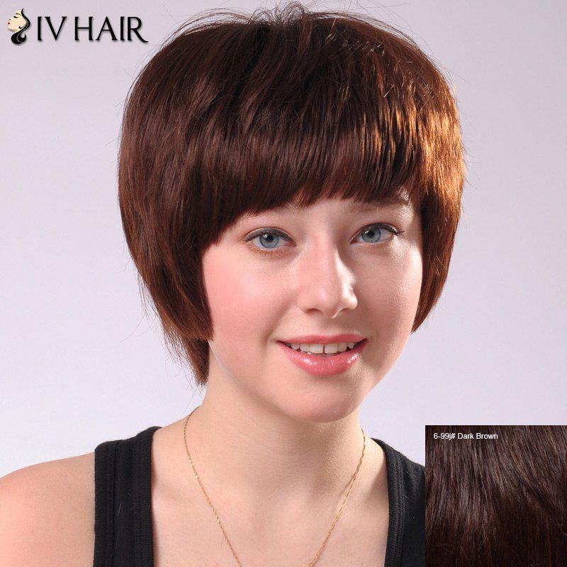 Sweet Short Full Bang Women's Siv Human Hair Wig - DARK BROWN