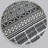 Chic Quality Geometric Pattern Round Beach Throw With Tassels - WHITE/BLACK
