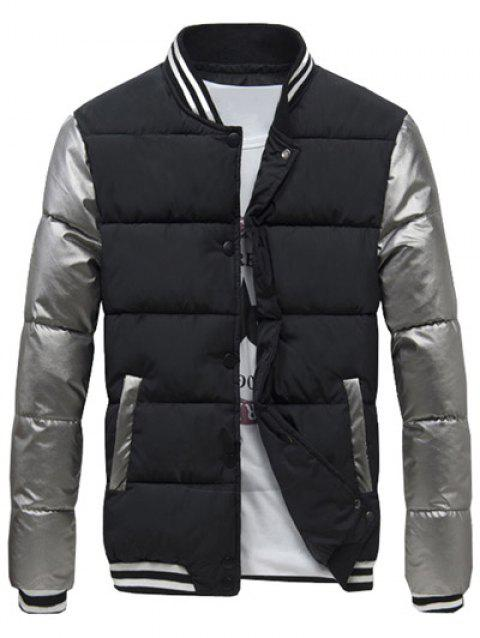 Varsity Snap Button Color Spliced Men's Padded Coat - BLACK L