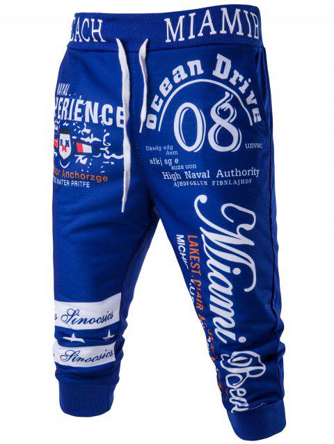 Casual Men's Lace Up Letters Printed Jogger Pants - BLUE M