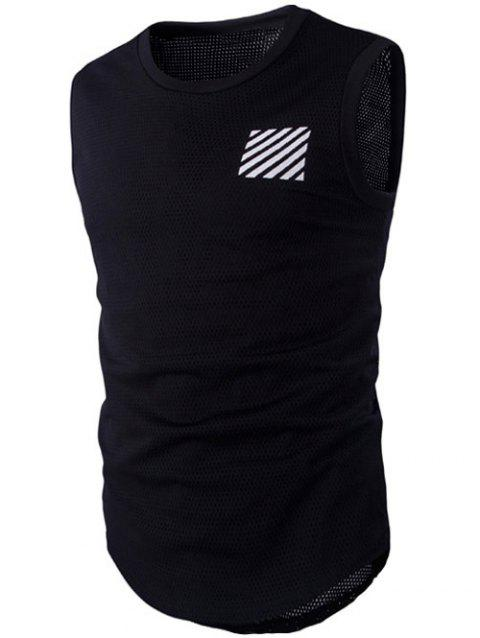 Neck ronde Stripes mode Imprimer Mesh Tank Top For Men - blanc et noir M