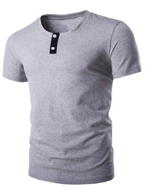 Classic Round Neck Button Design Short Sleeves T-Shirt For Men - GRAY L