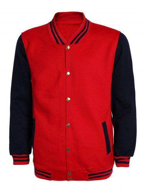 Color Block Stripe Rib Splicing Stand Collar Long Sleeve Men's Jacket - BLUE/RED XL