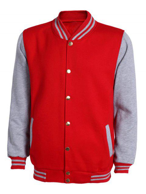 Color Block Stripe Rib Splicing Stand Collar Long Sleeve Men's Jacket - GRAY/RED L