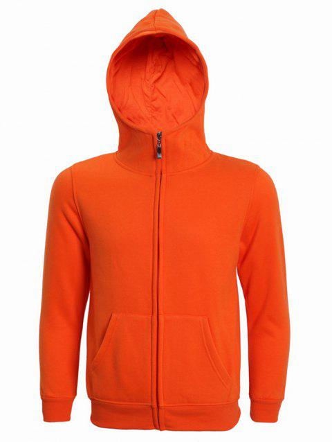 Hooded Long Sleeve Solid Color Zip-Up Men's Hoodie - ORANGE XL