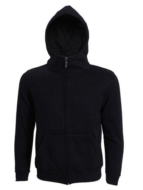 Hooded Long Sleeve Solid Color Zip-Up Men's Hoodie - BLACK M