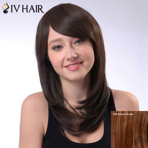 Ladylike Capless Long Tail Adduction Side Bang Women's Siv Human Hair Wig - AUBURN BROWN