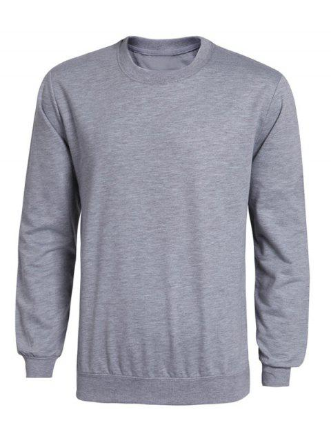 Rib Splicing Long Sleeve Solid Color Men's Sweatshirt - GRAY M
