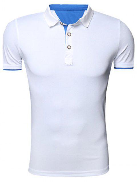 Classic Turn-Down Collar Short Sleeves Polo T-Shirt For Men - WHITE L