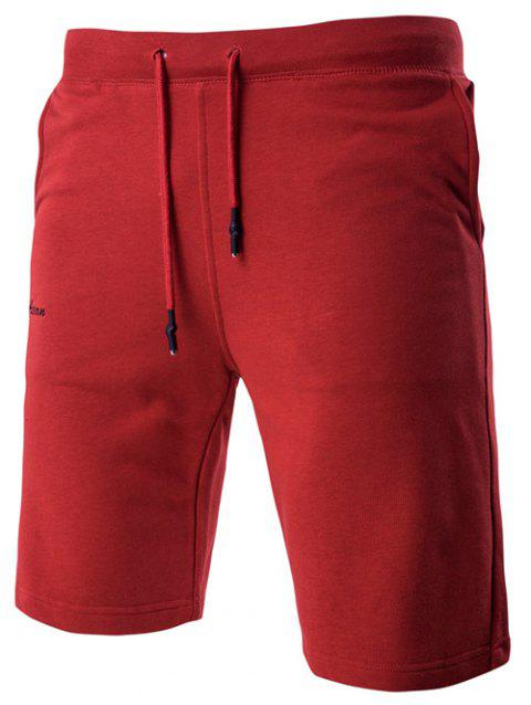 Letter Embroidered Drawstring Waistband Shorts For Men - RED L