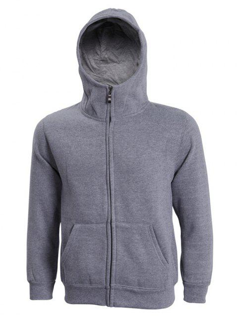 Hooded Long Sleeve Solid Color Zip-Up Men's Hoodie - DEEP GRAY XL