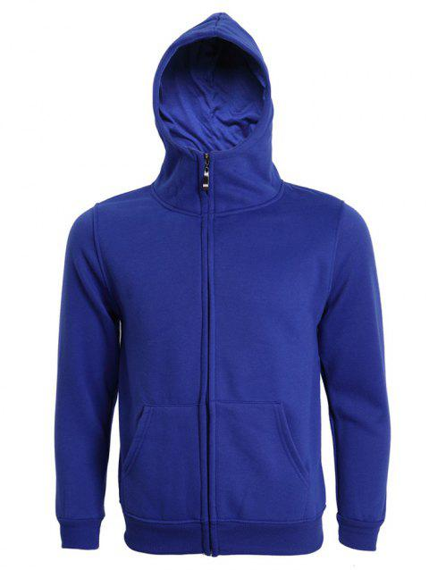 Hooded Long Sleeve Solid Color Zip-Up Men's Hoodie - DEEP BLUE XL