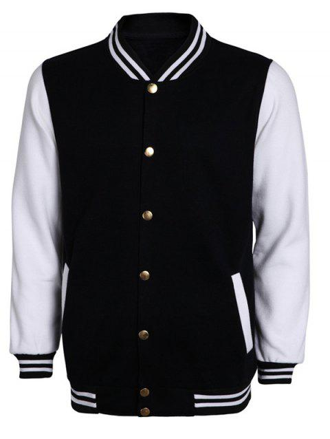 Color Block Stripe Rib Splicing Stand Collar Long Sleeve Men's Jacket - WHITE/BLACK L