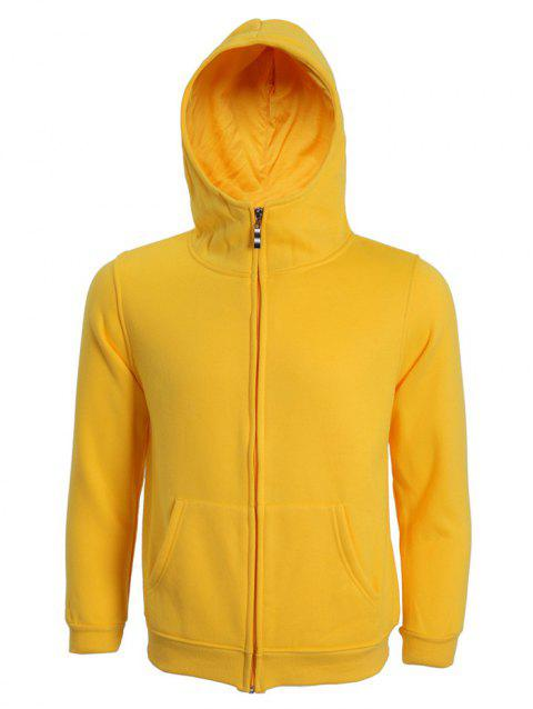 Hooded Long Sleeve Solid Color Zip-Up Men's Hoodie - YELLOW 3XL