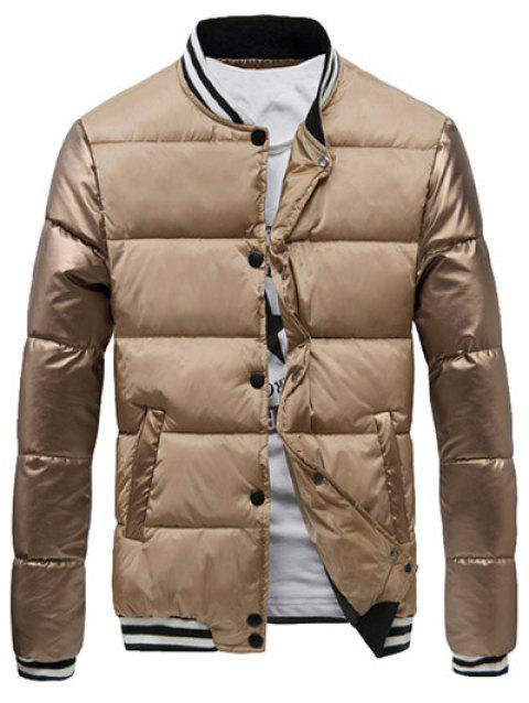 Varsity Snap Button Color Spliced Men's Padded Coat - APRICOT 3XL