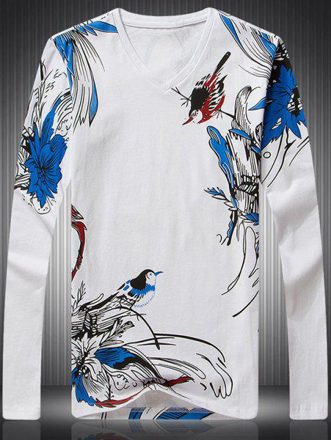 Bird Floral Print V-Neck Long Sleeve Men's T-Shirt - WHITE M