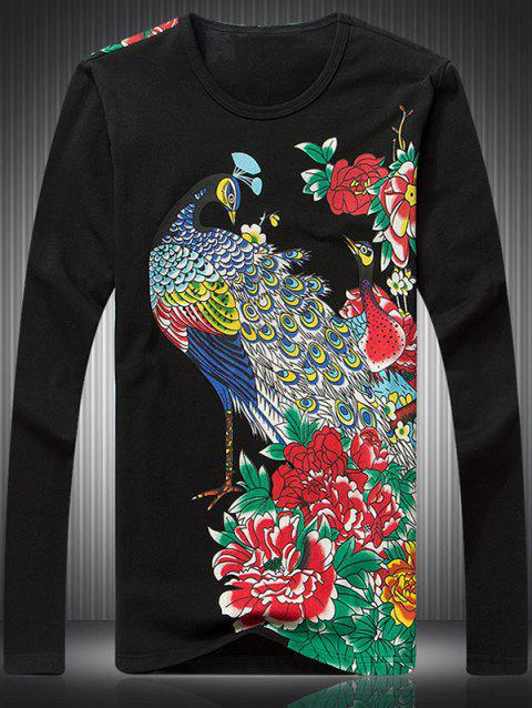 Peacock Peony Print Round Neck Long Sleeve Men's T-Shirt - BLACK L