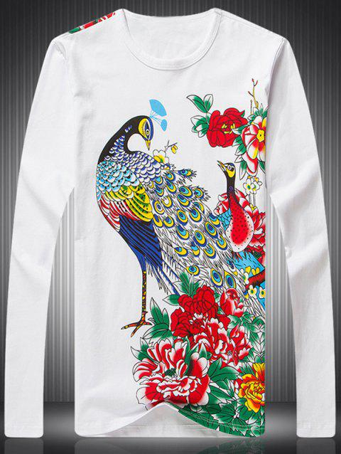 Peacock Peony Print Round Neck Long Sleeve Men's T-Shirt - WHITE 2XL
