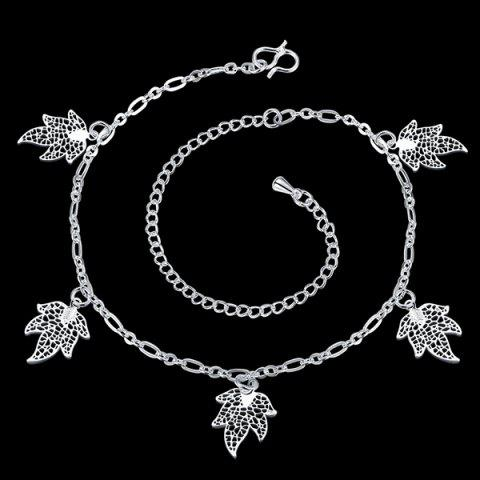 Stylish Solid Color Filigree Leaf Charm Anklet For Women - SILVER