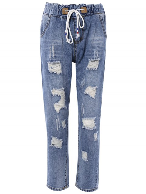 Chic Drawstring Broken Hole Pocket Design Women's Jeans - DENIM BLUE M