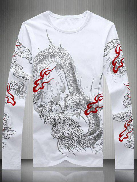 Embroidered Chinese Dragon Print Men's T-Shirt - WHITE XL