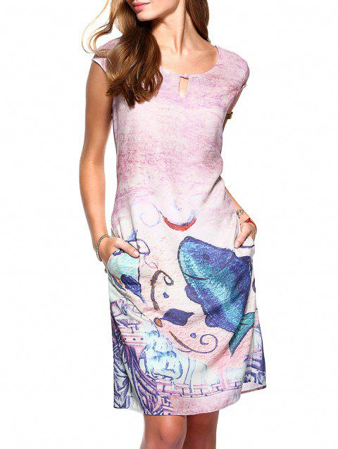 Vintage Short Sleeve Hollow Out Patterned Dress - PINK S