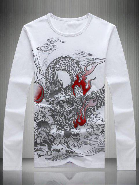 Dragon Totem Print Round Neck Long Sleeve Men's T-Shirt - WHITE 3XL