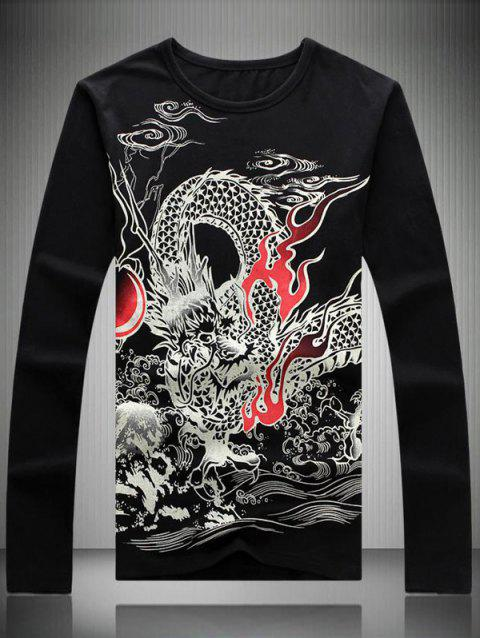 Dragon Totem Print Round Neck Long Sleeve Men's T-Shirt - BLACK 2XL
