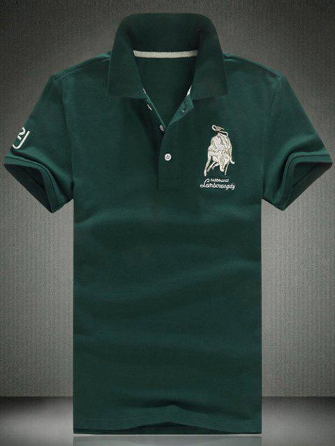 Turn Down Collar Short Sleeve Embroidered T-Shirt For Men - BLACKISH GREEN M
