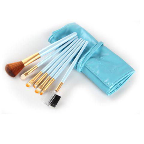 Professional 7 Pcs Nylon Face Eye Lip Makeup Brushes Set with Brush Package - BLUE