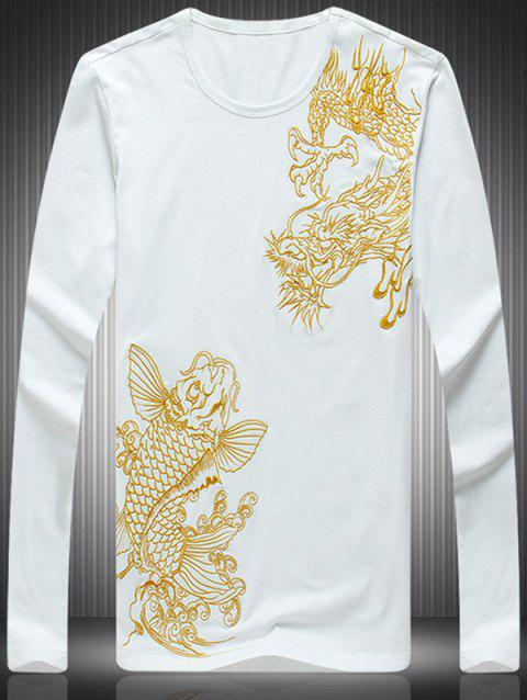 Fashion Dragon Embroidered Round Neck Long Sleeves T-Shirt For Men - WHITE L