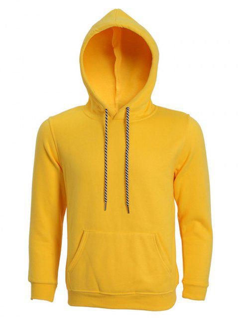 Hooded Long Sleeve Solid Color Men's Hoodie - YELLOW L