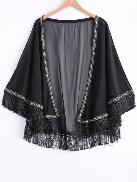Chic Hit Couleur frangée Kimono - Noir ONE SIZE(FIT SIZE XS TO M)