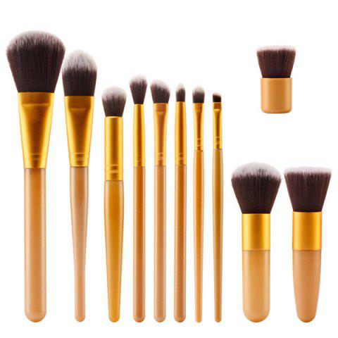 Professional 11 Pcs Plastic Handle Nylon Face Eye Lip Makeup Brushes Set - GOLDEN