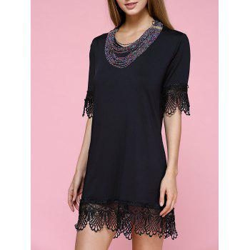 Stunning V-Neck Floral Hem Black Dress For Women