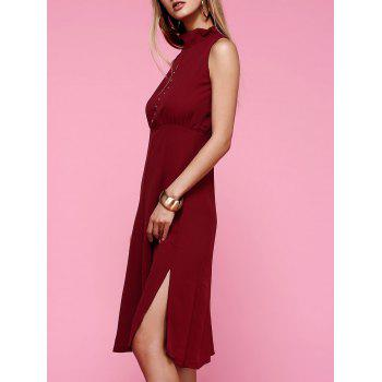 Elegant Sleeveless Button Design Slit Dress For Women