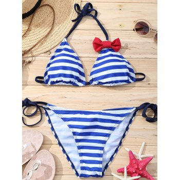 Attractive Women's Halter Striped Bowknot Bikini Set