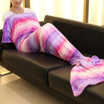 Ombre Wavy Mermaid Tail Style Sofa Soft Blanket - PINK L