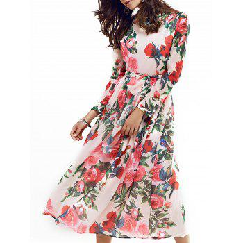 Vintage Long Sleeve Rose Print Full Dress