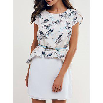 Elegant Round Neck Bird Print Spliced Women's Dress