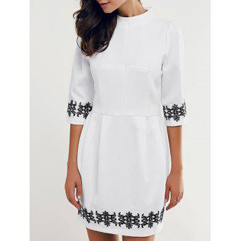 Elegant Stand Collar 3/4 Sleeve Embroidered Women's Dress