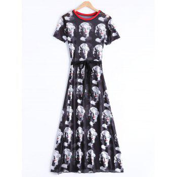 Chic Round Neck Short Sleeve Figure Print Women's Dress